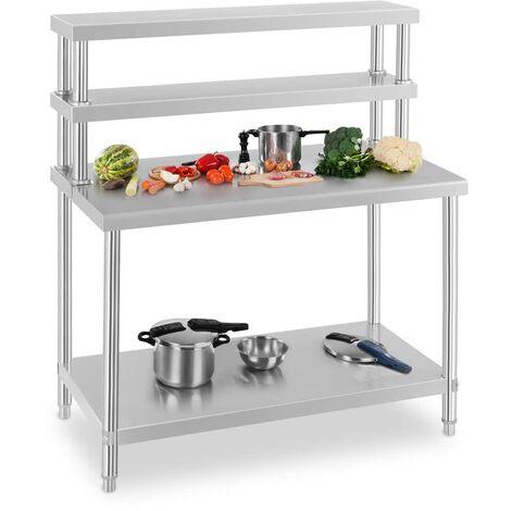 Arbeitstisch Edelstahl + Aufsatzbord 120X70cm Gastronomie Wandregal Küchentisch