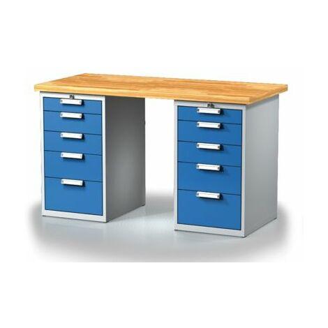 Arbeitstisch mit Schubladenschränken | 10 Schubladen | Länge 1500 mm | Certeo