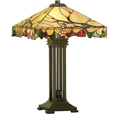Arbois Tiffany Style Table Lamp Stained Glass Shade - Interiors