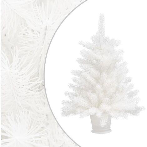 Árbol artificial de Navidad con hojas realistas blanco 65 cm - Blanco
