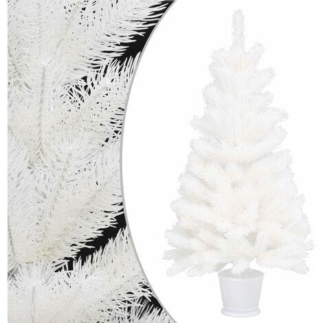 Árbol artificial de Navidad con hojas realistas blanco 90 cm - Blanco