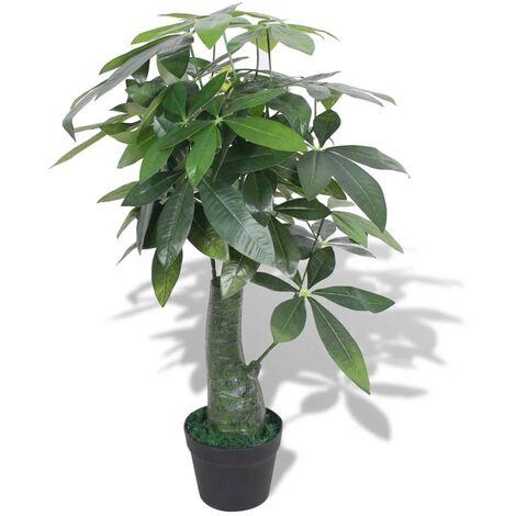 Árbol de la fortuna artificial con macetero 85 cm verde