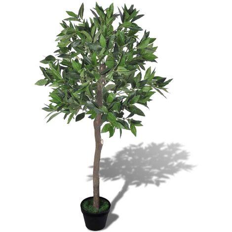 Árbol de laurel artificial con maceta, 120 cm de alto