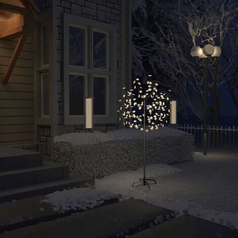 Árbol de Navidad 120 LEDs blanco cálido flores de cerezo 150 cm