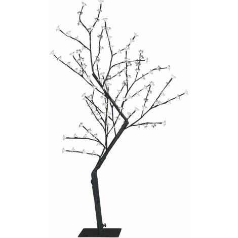 Árbol de Navidad 128 LEDs luz azul fría flores de cerezo 120 cm