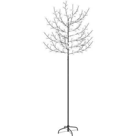 Árbol de Navidad 220 LEDs luz azul fría flores de cerezo 220 cm