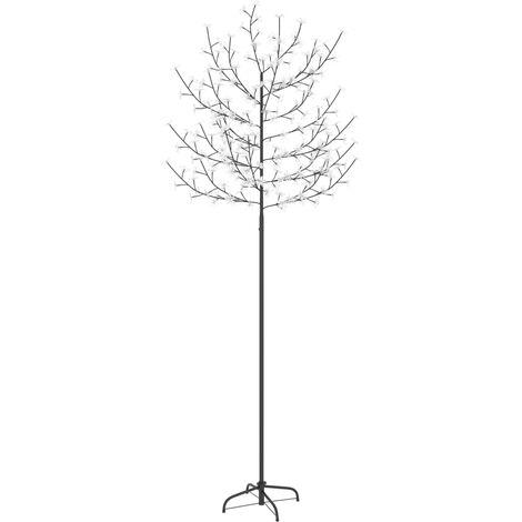 Árbol de Navidad 220 LEDs luz blanca fría flores de cerezo 220 cm