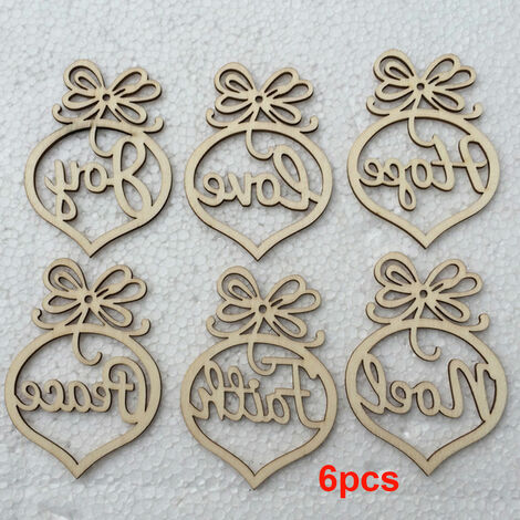 arbol de Navidad 6pcs decoraciones de madera colgantes Colgantes Escena Crafts diseno Adornos fiesta de la boda del adorno de vacaciones