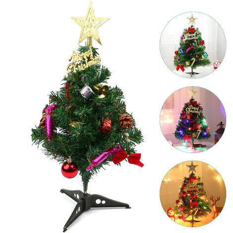 arbol de Navidad arbol de Navidad artificial 50CM Mini de sobremesa con LED-cadena luces ornamentos colgantes de soporte para la decoracion interior de la Navidad (bateria no esta incluido) Verde