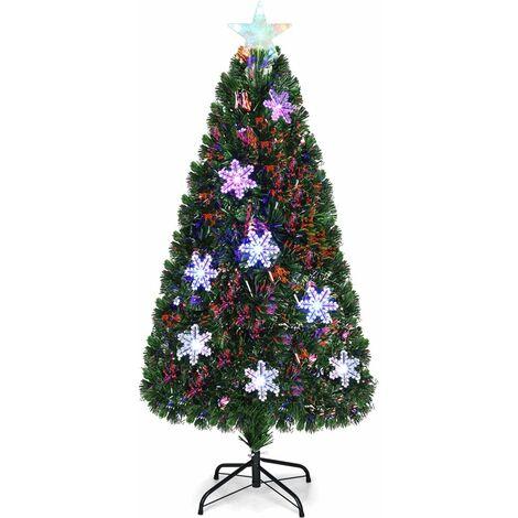 Árbol de Navidad Artificial 150cm con Base Iluminado con Fibra de Vidrio Cambia Color para Navidad Hogar Fiesta Decoración
