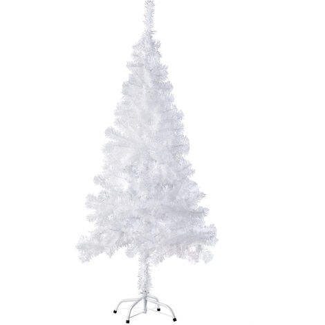 Árbol de Navidad artificial - adorno navideño para casa, pino navideño para decoración de Navidad, abeto navideño con soporte y ramas flexibles - 150 cm, 310 ramas, blanco