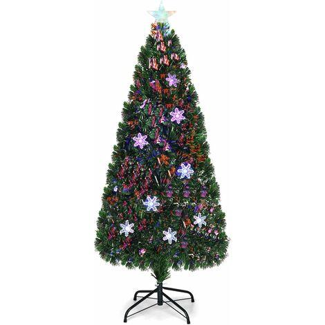 Árbol de Navidad Artificial 180cm con Base Iluminado con Fibra de Vidrio Cambia Color para Navidad Hogar Fiesta Decoración