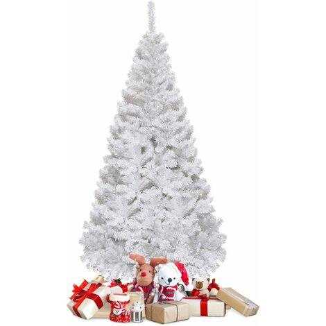 Árbol de Navidad Artificial 1,8M con Base Metálica Material PVC Decoración para Navidad Fiesta Casa Blanco