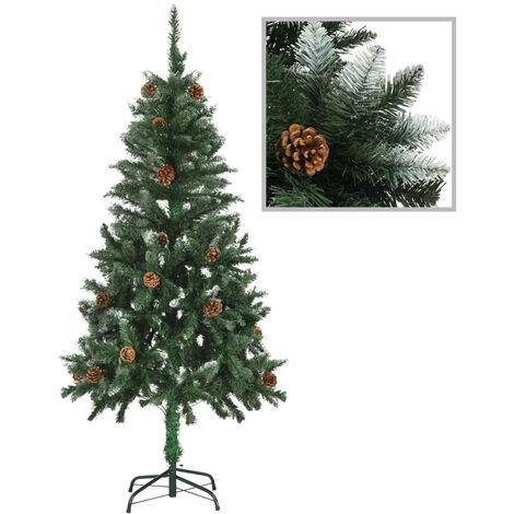 Árbol de Navidad artificial con piñas y brillo blanco 150 cm