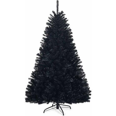 Árbol de Navidad Artificial con Puntas de PVC y Soporte de Metal Navidad Decoración para Hogar Oficina Fiesta Color Negro Altura 180cm