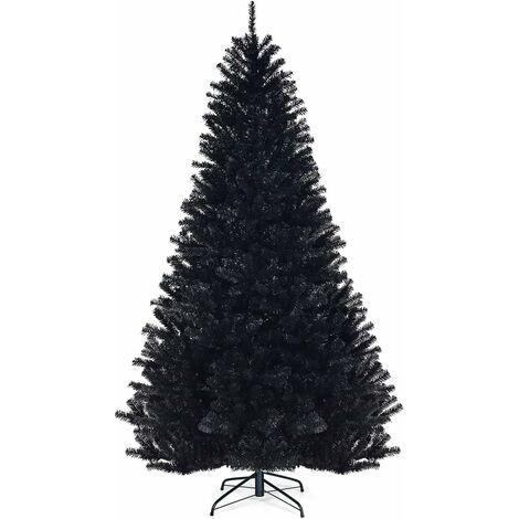 Árbol de Navidad Artificial con Puntas de PVC y Soporte de Metal Navidad Decoración para Hogar Oficina Fiesta Color Negro Altura 225cm