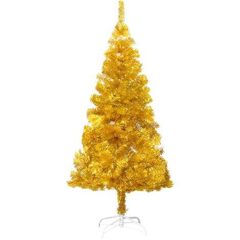 Árbol de Navidad artificial con soporte dorado PET 180 cm