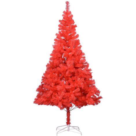 Árbol de Navidad artificial con soporte rojo PVC 180 cm