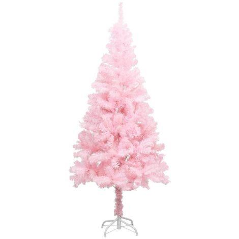 Árbol de Navidad artificial con soporte rosa PVC 180 cm