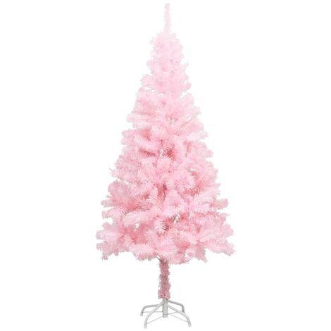 Árbol de Navidad artificial con soporte rosa PVC 213 cm