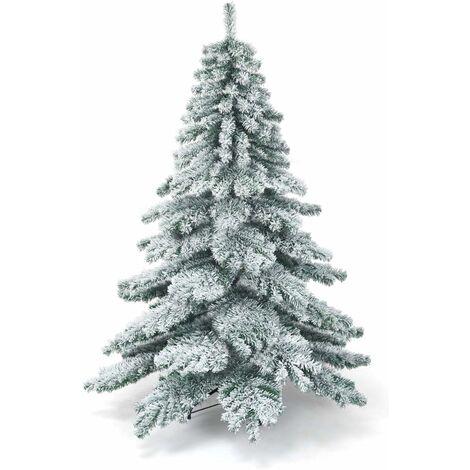 Árbol de Navidad Artificial de 180cm con Soporte de Metal,Agujas de PVC,Nieve Decorativa Navidad para Hogar Oficina Fiesta