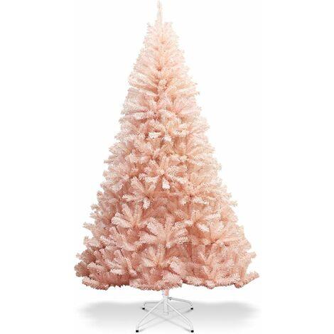 Árbol de Navidad Artificial de 180cm Rosa Árbol de Navidad con Soporte de Metal y 617 Puntas de PVC Navidad Decoración para Hogar Oficina Tienda Hotel