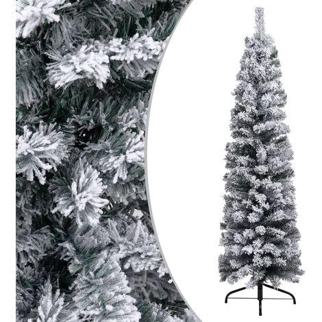 Árbol de Navidad artificial estrecho con nieve PVC verde 150 cm