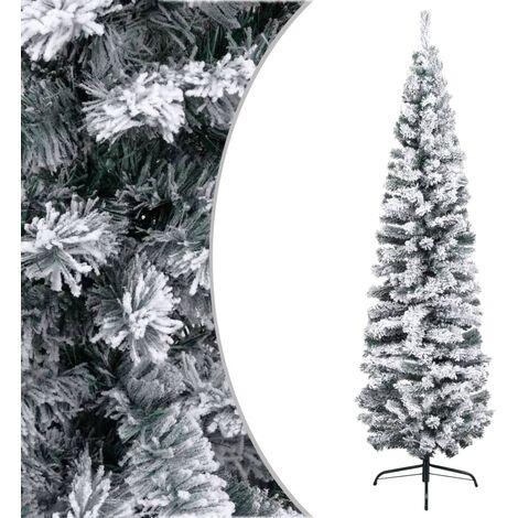 Árbol de Navidad artificial estrecho con nieve PVC verde 210 cm