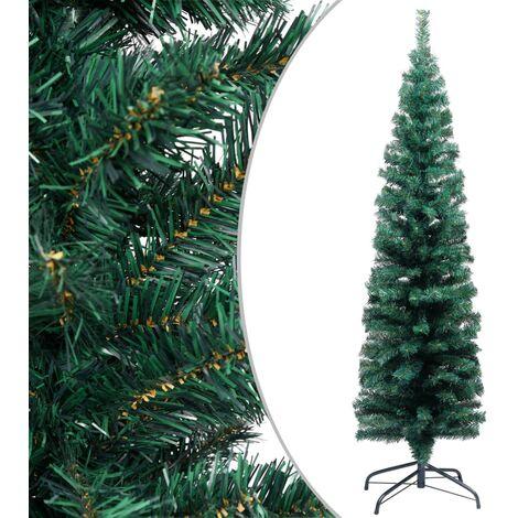 Árbol de Navidad artificial estrecho y soporte PVC verde 150 cm