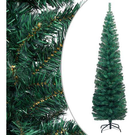 Árbol de Navidad artificial estrecho y soporte PVC verde 210 cm