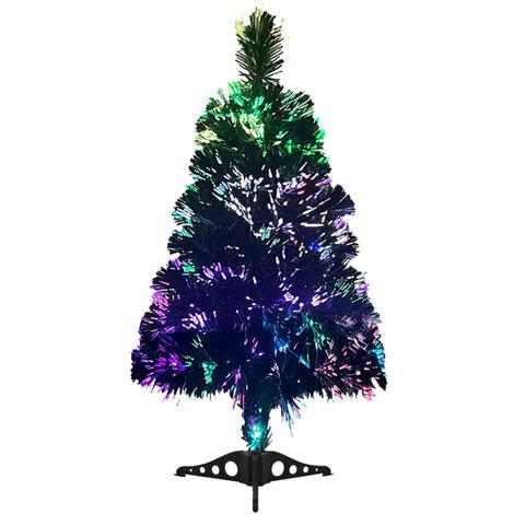 Árbol de Navidad artificial fibra óptica 64 cm verde
