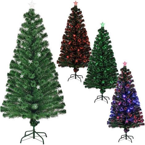 Árbol de Navidad (artificial) iluminado color con soporte - fibra de vidrio - fibra óptica - alta calidad - 180cm x Ø 80cm (200 puntas iluminadas)