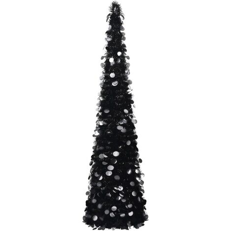 Árbol de Navidad artificial plegable PET negro 150 cm