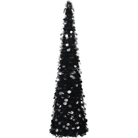 Árbol de Navidad artificial plegable PET negro 180 cm
