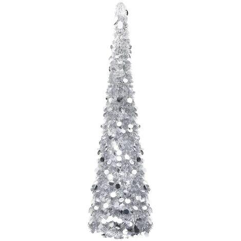 Árbol de Navidad artificial plegable PET plateado 150 cm