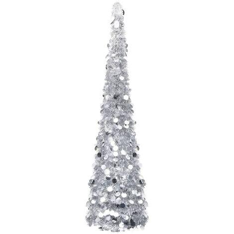 Árbol de Navidad artificial plegable PET plateado 180 cm