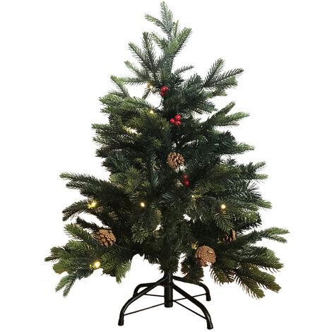 Árbol de navidad con 45 Leds, piñas y bolitas rojas 90 cm. (F-Bright 00516)