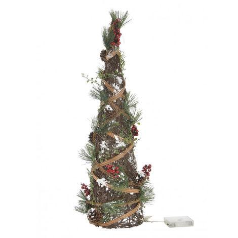 Árbol de Navidad con Luces LED, Diseño Original/Navideño con Bayas, Ratán y Piñas, ideal para Decorar. 16x16X60 cm.-Hogarymas-