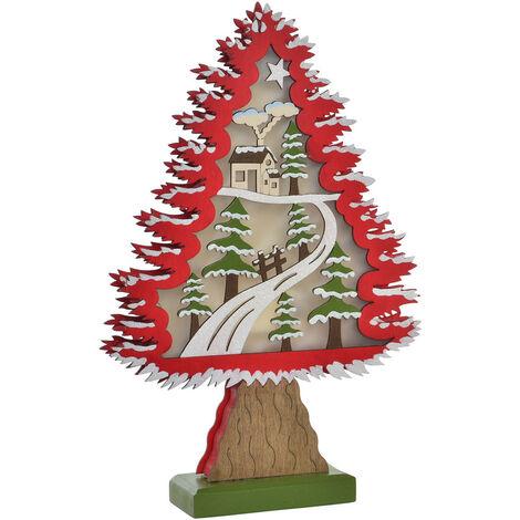 Árbol de Navidad con Luces LED en Madera, Decoración Navideña/Original, ideal para Decorar e iluminar. 2 Modelos de 23x6x35 cm. A