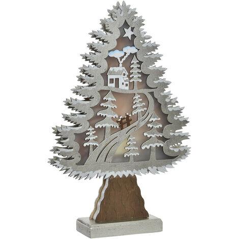Árbol de Navidad con Luces LED en Madera, Decoración Navideña/Original, ideal para Decorar e iluminar. 2 Modelos de 23x6x35 cm. B