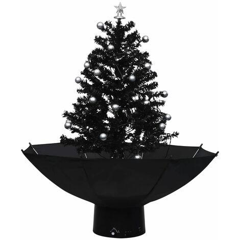 Árbol de Navidad con nieve con base de paraguas PVC negro 75 cm