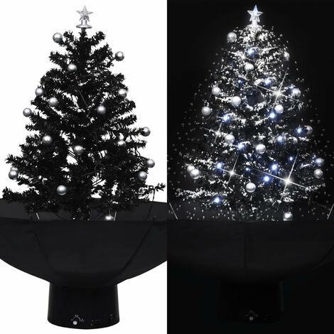 arbol de Navidad con nieve con base de paraguas PVC negro 75 cm