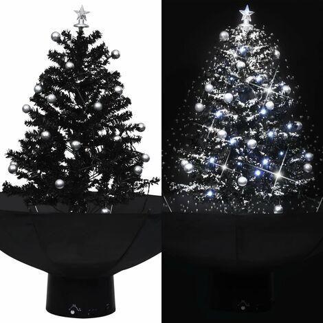 Árbol de Navidad con nieve con base de paraguas PVC negro 75 cm - Negro