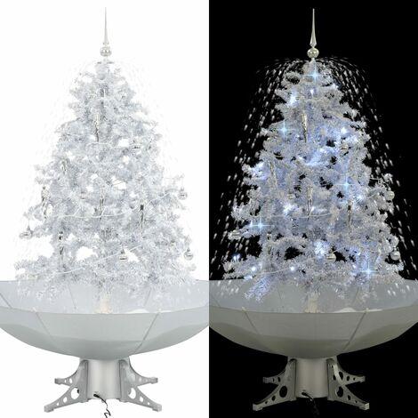 arbol de Navidad con nieve con base en paraguas blanco 140 cm