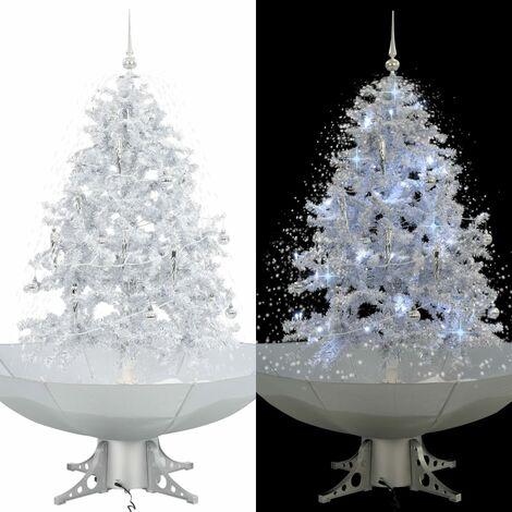 Árbol de Navidad con nieve con base en paraguas blanco 140 cm - Blanco