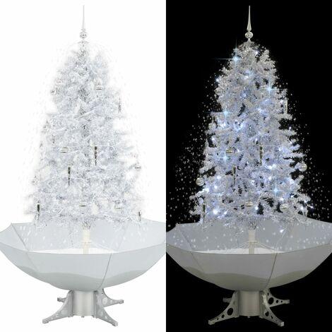 Árbol de Navidad con nieve con base en paraguas blanco 170 cm - Blanco