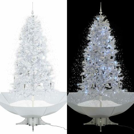 Árbol de Navidad con nieve con base en paraguas blanco 190 cm