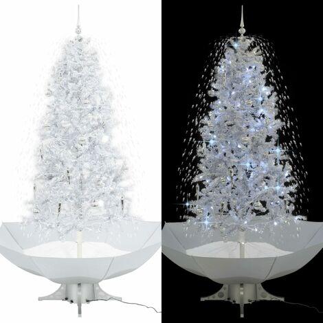 arbol de Navidad con nieve con base en paraguas blanco 190 cm