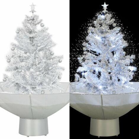 Árbol de Navidad con nieve con base en paraguas blanco 75 cm