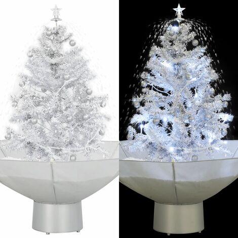 arbol de Navidad con nieve con base en paraguas blanco 75 cm